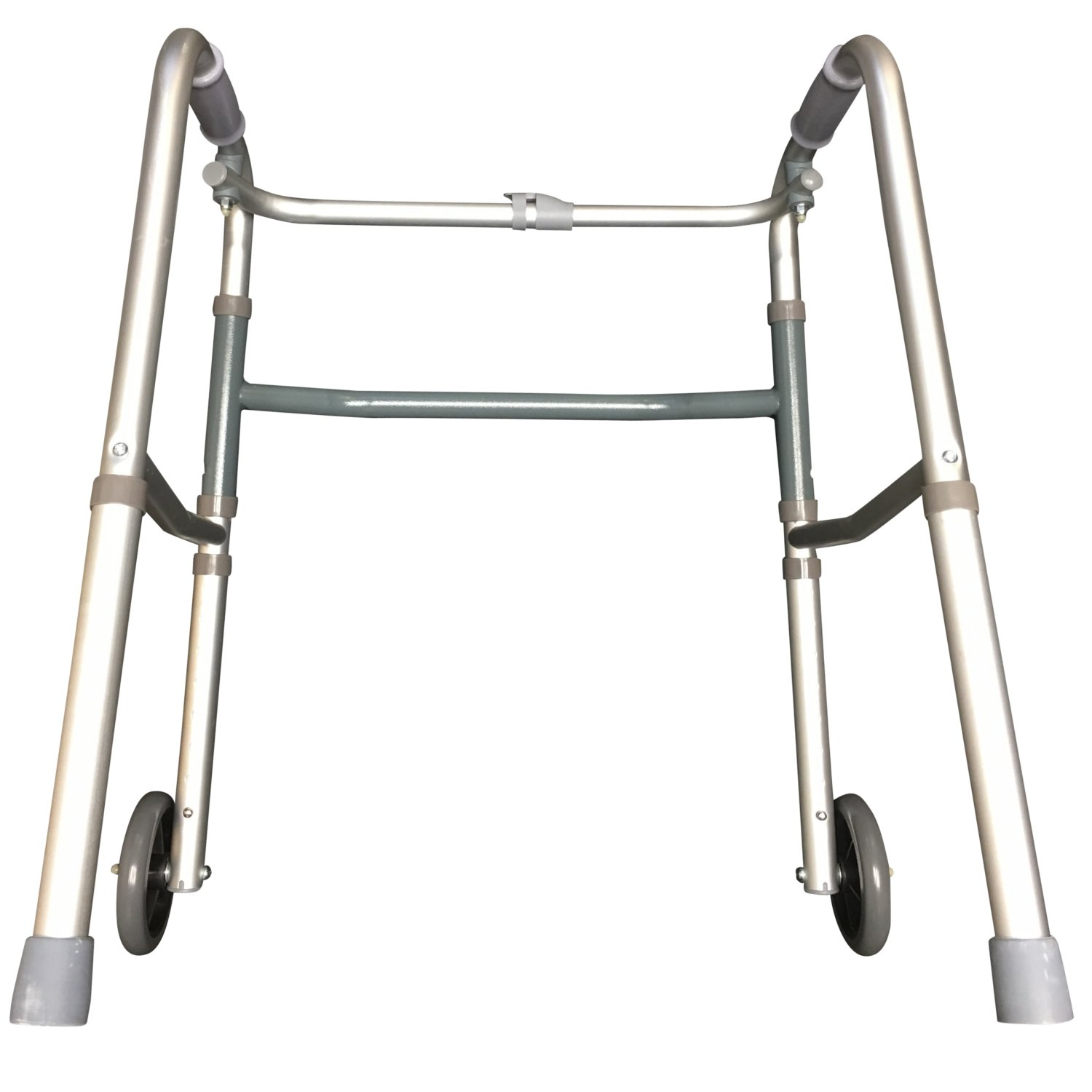 Pcp Adjustable Double Release Walker with 5 inches wheels, Grey, Junior Size by PCP