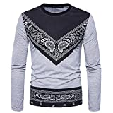Realdo Mens T-Shirt Clearance Sale,Autumn Winter Dashiki West African Paisley Print Pullover Tops (X-Large,Gray)