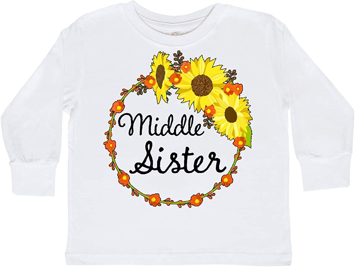inktastic Middle Sister Sunflower Wreath Toddler Long Sleeve T-Shirt