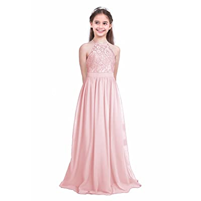 Kids Lace Chiffon Halter Flower Girl Dress Wedding Bridesmaid Pageant Prom Gown