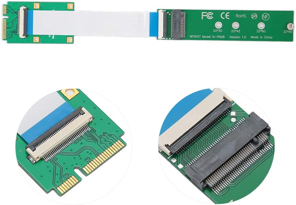 Reversible Base on WIN 10 Support 2230//2242//2260//2280 M.2 Card /& M.2 Key M Card NGFF M.2 nVME SSD to Mini PCIe Adapter