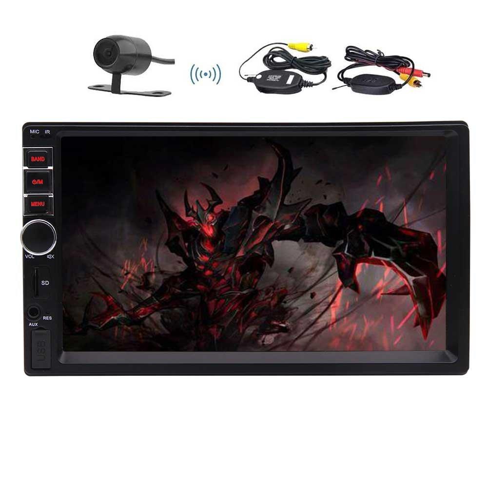無料のワイヤレスバックアップカメラは、BluetoothサポートFMのUSB / TF AUX-INマルチカラーボタンでEincarダブルディンユニバーサルカーMP5プレーヤー7インチのタッチスクリーンビデオプレイオーディオレシーバーラジオを含ま B0787SBLSF