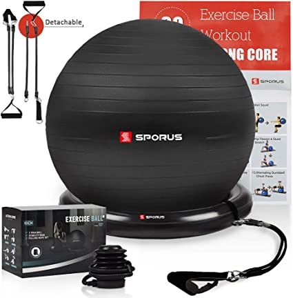Amazon Com Sporus Exercise Ball Chair 65cm Yoga Ball For Office And Fitness With Stability Ball Base Workout Poster Improve Balance Core Strength Posture For Gym Home Black Quick Pump
