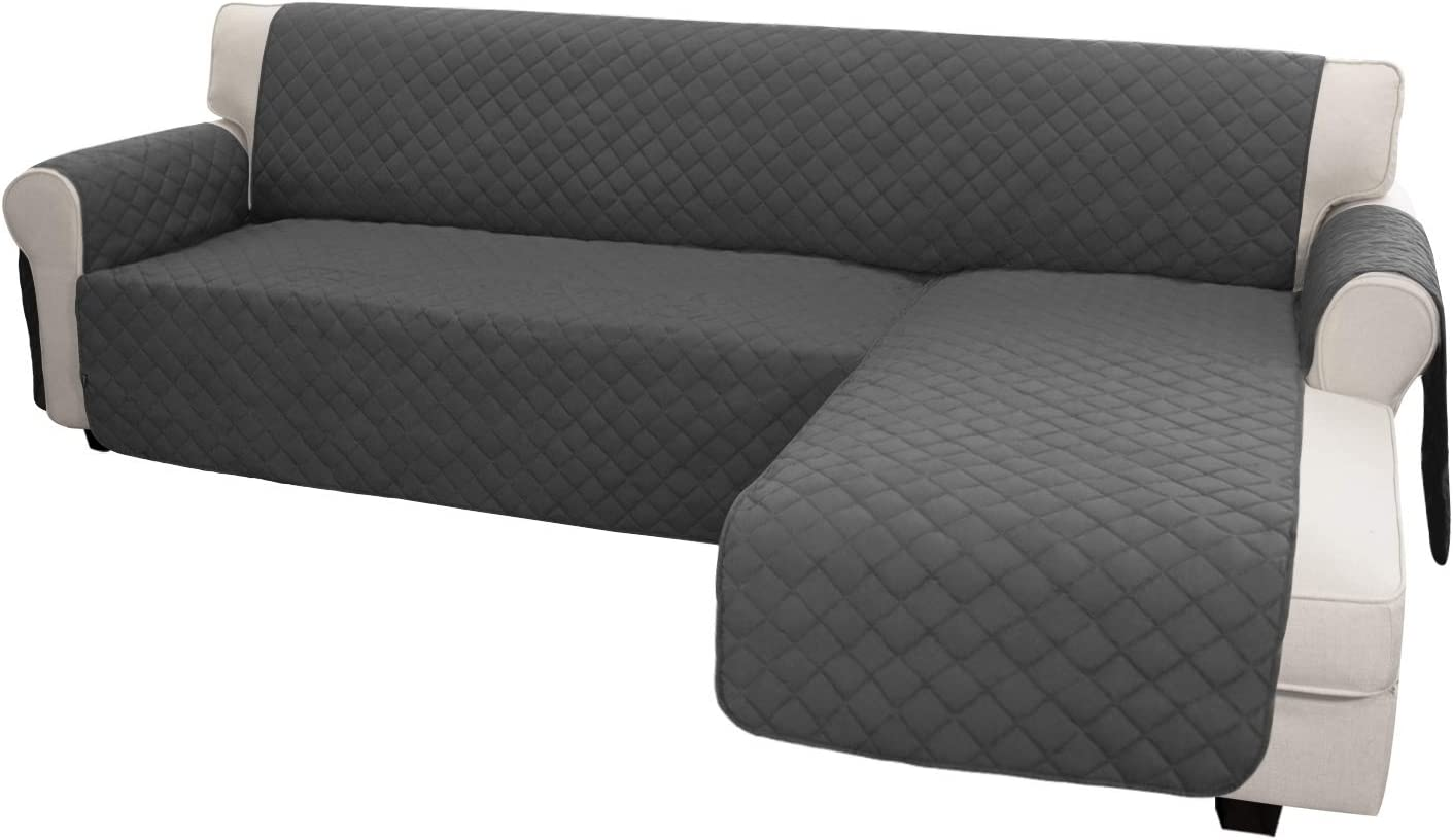 Easy-Going Sofa Slipcover L Shape Sofa Cover Sectional Couch Cover Chaise Lounge Slip Cover Reversible Sofa Cover Furniture Protector Cover for Pets Kids Children Dog Cat (Small,Dark Gray/Dark Gray)