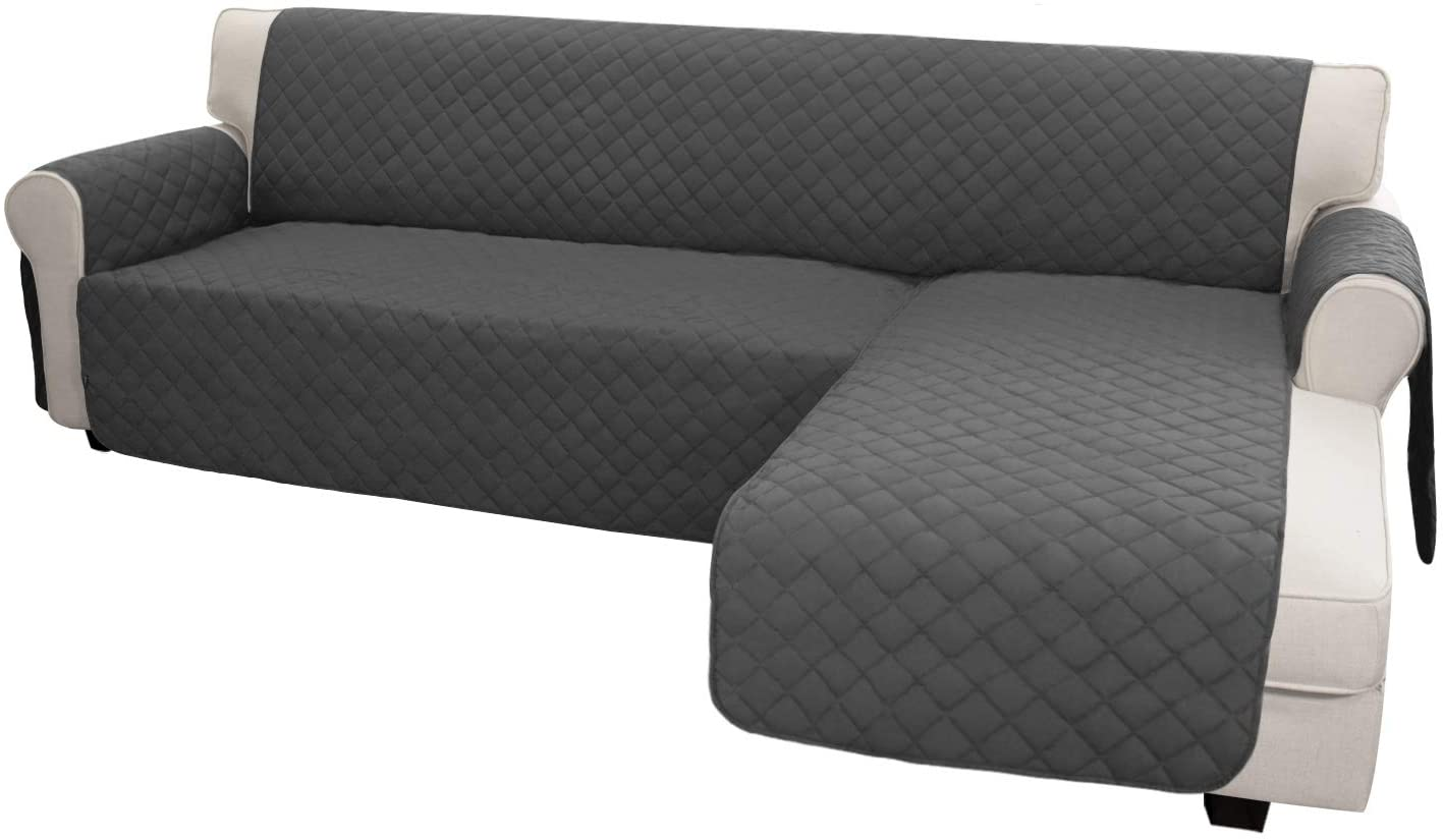 Easy-Going Sofa Slipcover L Shape Sofa Cover Sectional Couch Cover Chaise Lounge Slip Cover Reversible Sofa Cover Furniture Protector Cover for Pets Kids Children Dog Cat (Large,Dark Gray/Dark Gray)