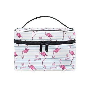 5df61f32d85a Amazon.com : Makeup Bag Pink Flamingo Hello Summer Blue Stripe ...