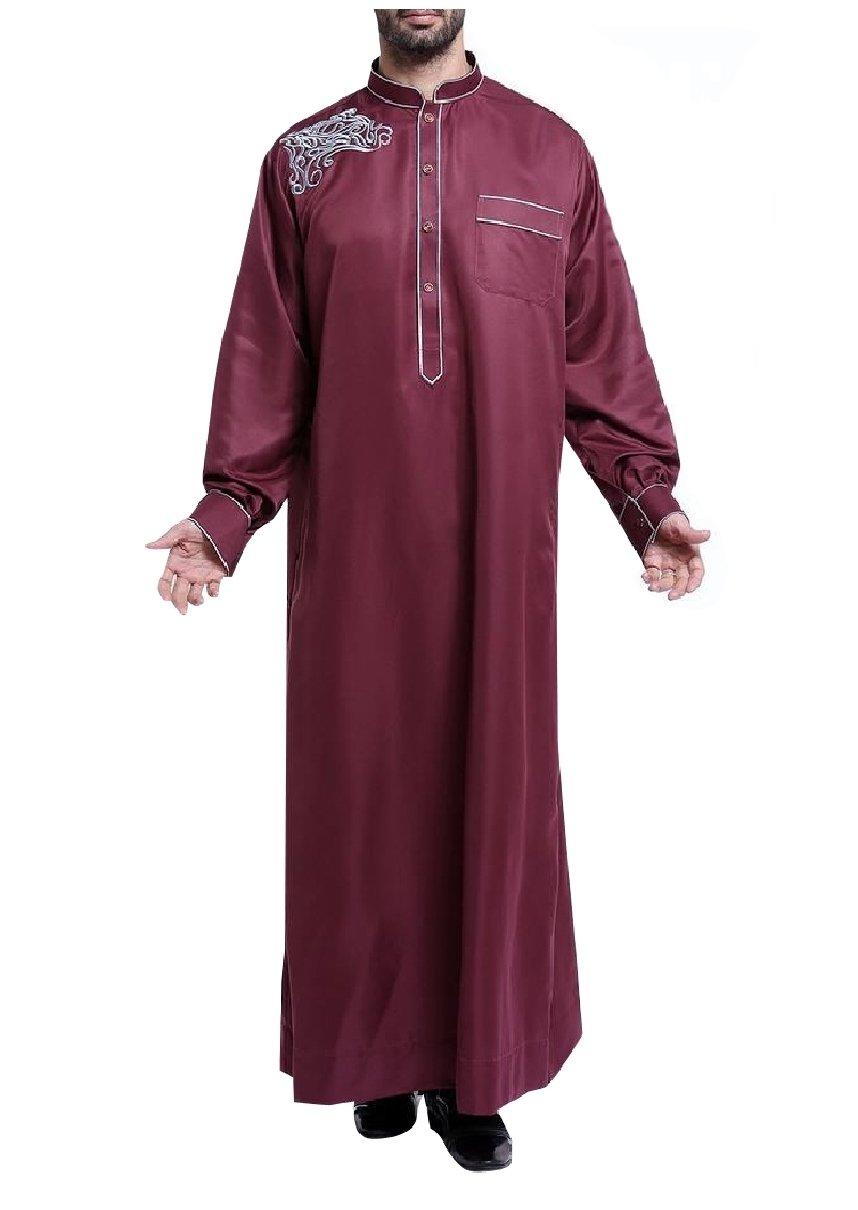 Highisa Men's Embroidered Saudi Arabia Mandarin Collar Arab Muslim Thobe Wine Red XL