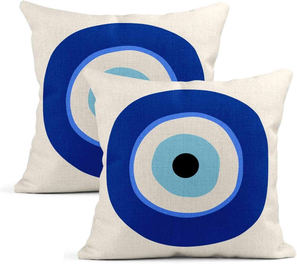 Sayakki Set of 2 Throw Pillow Covers Square 16 X 16 Inch Greek Evil Eye Symbol Protection White Cushion Home Decor Living Room Bedroom Office Linen Pillowcase