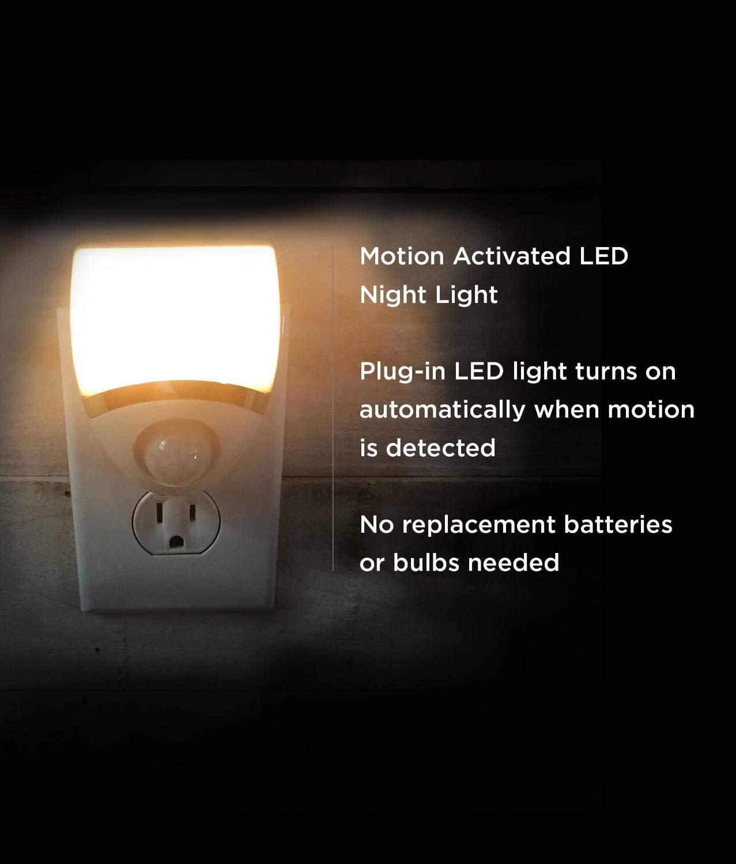 Amerelle Motion-Sensor LED Night Light - Plug-In LED Lights Turn on When Sensor Detects Motion - Ideal for Bedroom, Bathroom, Hallway, Nursery, Garage, ...