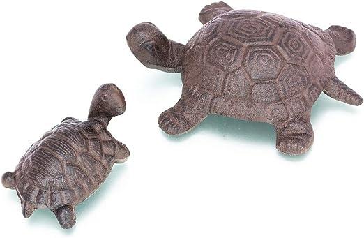 Antikas - bonitas tortugas para el jardín de hierro fundido - tortugas madre y niño como decoración - pareja tortugas resistente a la intemperie: Amazon.es: Jardín
