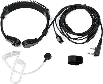 4-Pack Acoustic Tube Earpiece Throat Mic Headset for Baofeng BF-V6 BF-V7 UV-5R