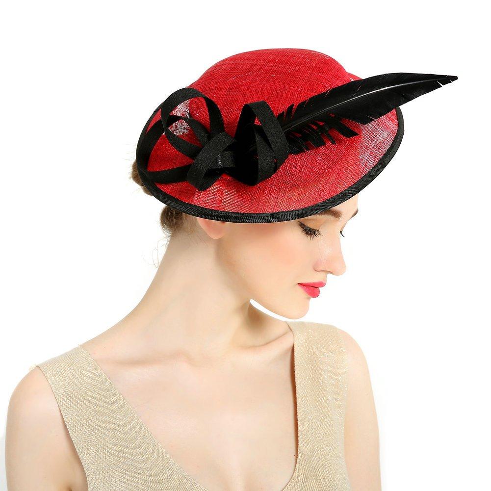 HBF Chapeau de Cérémonie a Fleur Bibi Chapeau Voilette Mariage Accessoires Cheveux Pour Femme Mariées