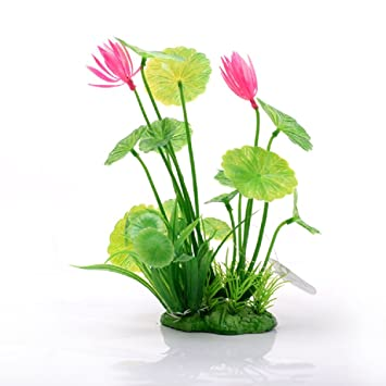 JUZIPI Decoración para Acuario con Plantas de Acuario y Flores, Decoración para pecera y pecera
