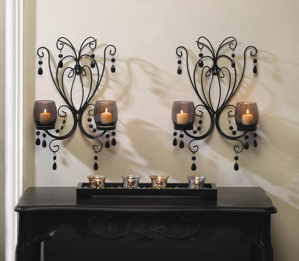 2 BLACK WALL SCONCE Chandelier CANDELABRA Candle HOLDER Wedding Centerpiece PAIR