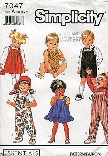 Simplicity 7047 Sewing Pattern Babies Overalls Sundress Jumper Bubble Suit NB - 18 Months
