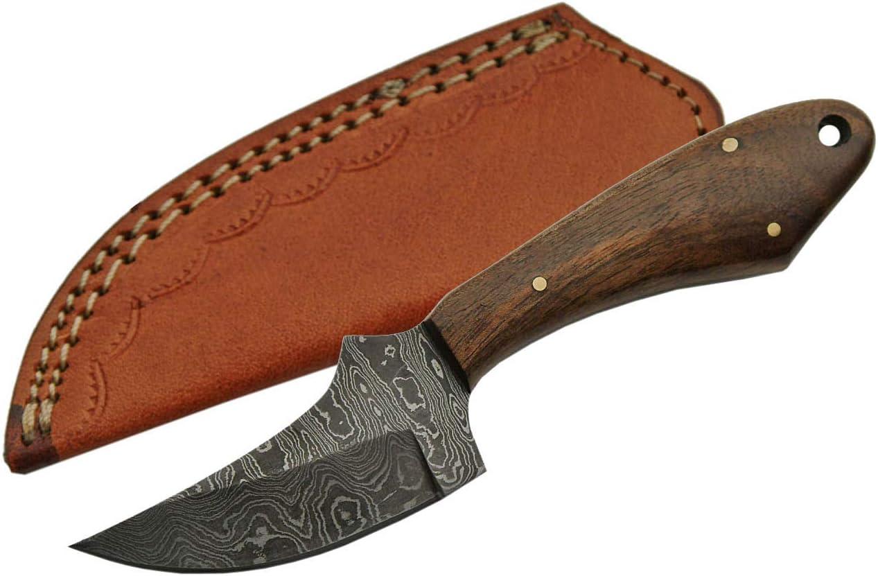 SZCO Supplies Damascus Steel Walnut Skinning Knife