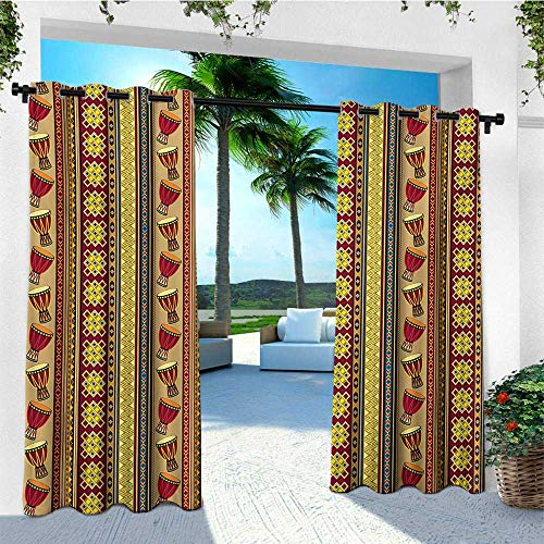 leinuoyi Ethnic, Outdoor Curtain Grommet, African Tribal Pattern with Abstract Folk Figures and Drum Icons Traditional Design, Fashions Drape W108 x L108 Inch Multicolor