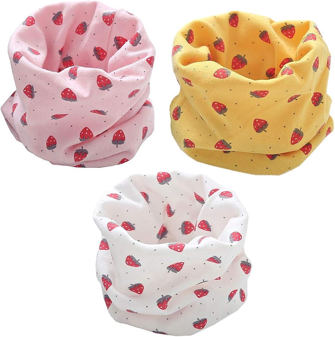 YONKINY 3 pz Sciarpa Scaldacollo Bambini Neonati Morbida Calda Sciarpa in Cotone Fazzoletto da collo Loop Sciarpa O-ring Sciarpa