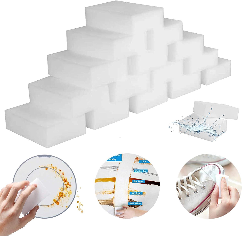 Melamine Sponge Foam,100 Pack Magic Cleaning Sponges Eraser Sheet, Kitchen Dish Sponges Scrubber, Household Supplies Sponge for Bathroom, Furniture, Sink, Floor Wall Cleaner