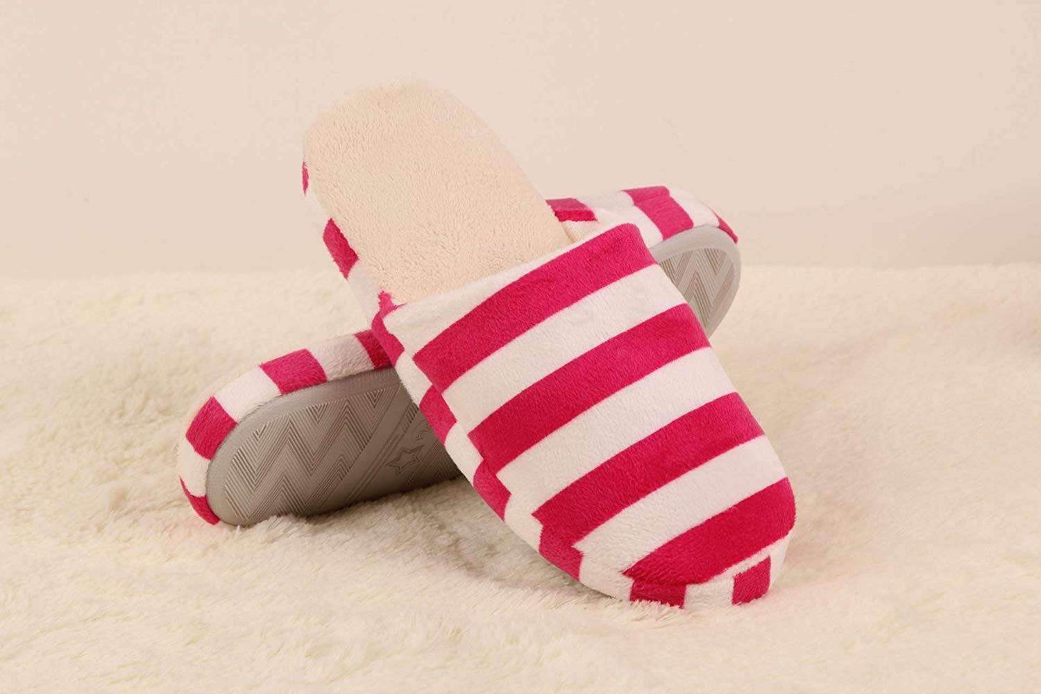 Color :, Size : 3 Easyflower Available Perfect Winter Striped Indoor Warm Slippers Cotton Slippers Home Floor Slippers
