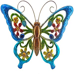 Nuxn Metal Butterfly Wall Decor Stained Glass Hanging Butterfly Decor with Hook Hollow Out Butterfly Shaped Art Sculpture Hanging Ornaments for Home Garden Yard Room Decoration