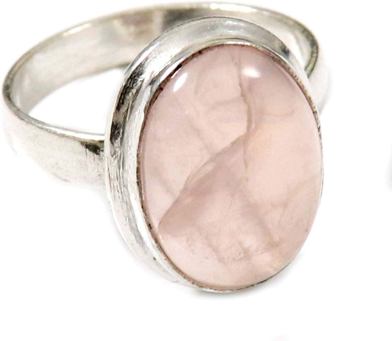 GoyalCrafts - Anillo de cuarzo rosa chapado en plata con piedras preciosas naturales US 6.75 GRS32
