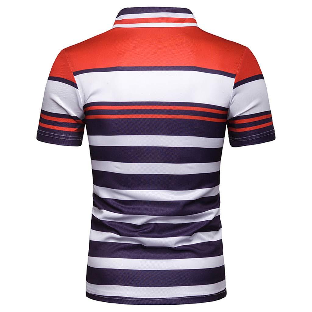 Sagton Mens Regular-Fit Stripe Short Sleeve Rugby Polo Tshirts