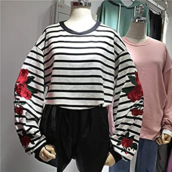 EDC-OnSale New Autumn Harajuku Hoodies Roses Embroidery Lantern Sleeve Loose Striped Women Sweatshirt Girl