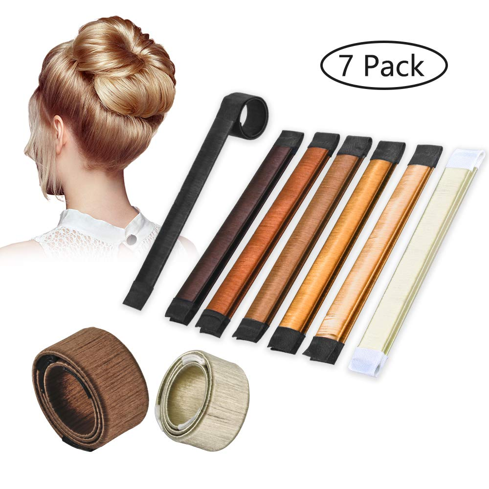 Terresa Magic Hair Bun Maker - 7 Pcs French Twist Hairstyle Hair Bun Shapers with Extra Strength Donut Crown Hair Maker (7 Pcs with Different Colors)