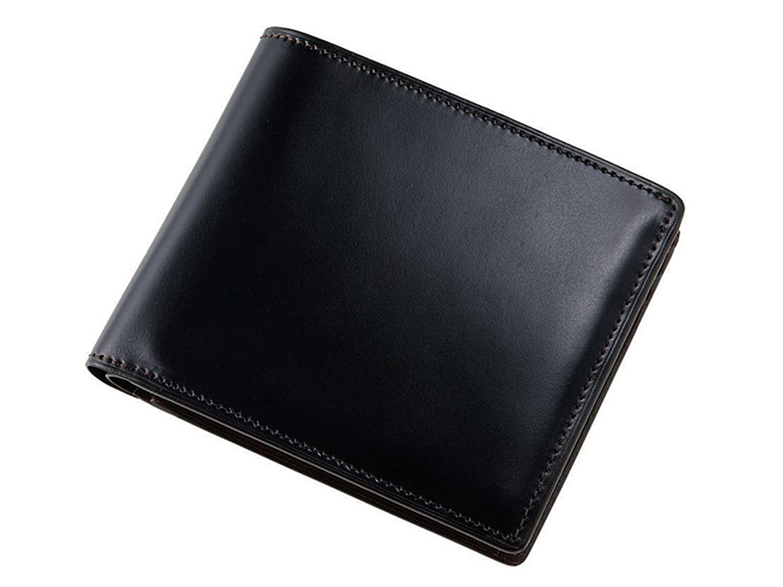 【キプリス】二つ折り財布(小銭入れ付き札入)■オイルシェルコードバン&シラサギレザー 4121 B075YP4RX5ブラック/チョコ