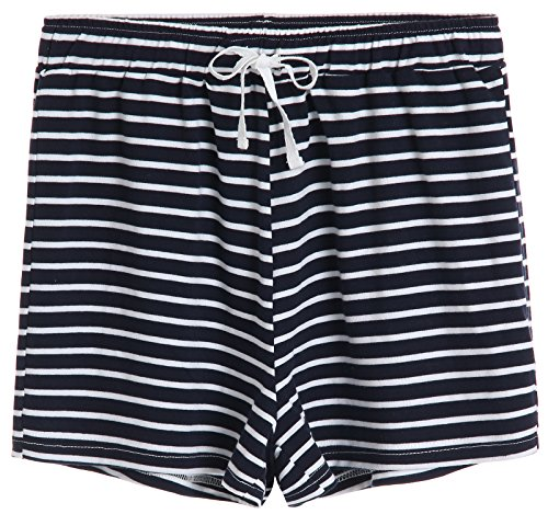 Latuza Women's Cotton Striped Pajama Shorts S Navy (Women Navy Striped Pj)