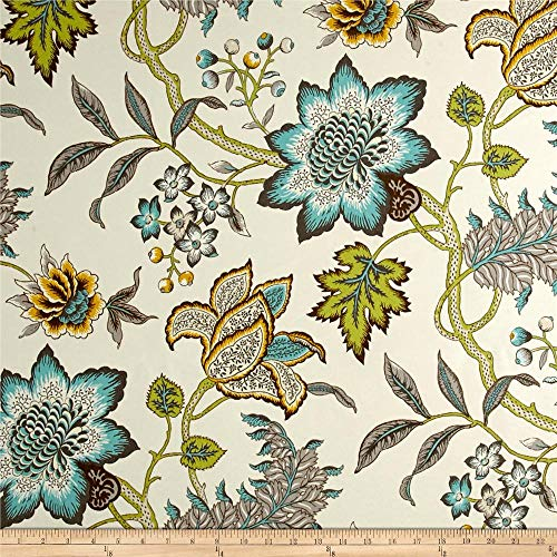 Waverly 0564954 Sun N Shade Jacobean Flair Turquoise Fabric by the Yard (Reupholster Chairs Outdoor)