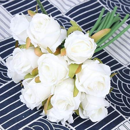 Ramo de 12 Rosas Artificiales de Seda para decoración de Bodas ...