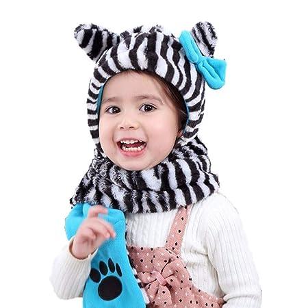 Fengbingl-ac Sombrero de bebé cálido Conjunto de Gorro y Bufanda ...