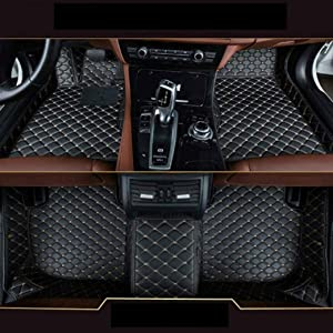 8X-SPEED Custom Car Floor Mats Fit for BMW X6 E71 E72 2008-2014 Full Coverage All Weather Protection Waterproof Non-Slip Leather Liner Set Black