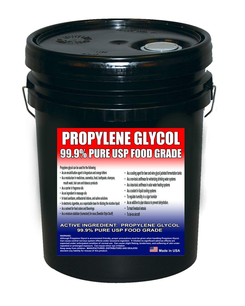 Propylene Glycol USP Kosher Certified 100% Pure Food & Pharmaceutical Grade - Highest Possible Purity - 43.1 lbs. nt. wt. in a 5 Gallon Pail in Safety Sealed HDPE Container with Resealable Cap…