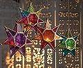 CraftVatika Star Metal Glass Moroccan Style Lanterns Hanging Tealight Candle Holders