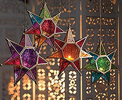 CraftVatika Star Metal Glass Moroccan Style Lanterns Hanging Tealight Candle Holders