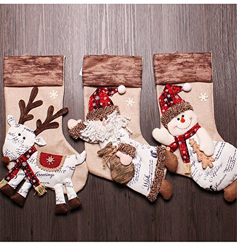 Sirwolf Christmas Stockings for Kids Christmas Decorations Cute Christmas Large Stocking Set of 3 Xmas Gift Candy Bags Socks Santa Snowman Reindeer 3D Embroidered by Kingyee Kids