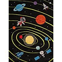 Momeni Rugs LMOJULMJ22BLK5070 Lil Mo Whimsy Collection, Kids Themed Hand Carved & Tufted Area Rug, 5 x 7, Outer Space Black