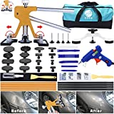 GLISTON 45pcs Paintless Dent Repair Tool Dent Puller Kit, Adjustable Width, Pops a Dent Car Dent Removal Kit, Golden Lifter, Bridge Puller& Glue Gun for Automobile Body Motorcycle Refrigerator