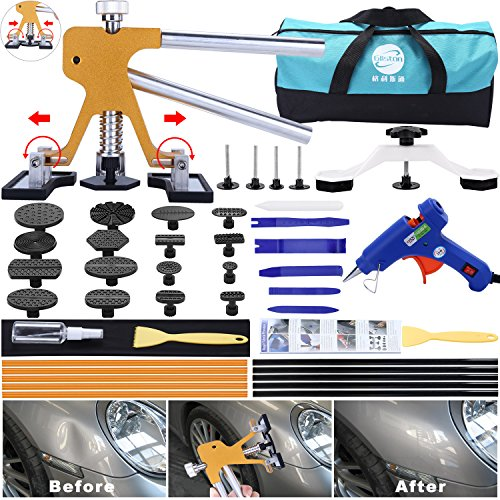 GLISTON 45pcs Paintless Dent Repair Tool Dent Puller Kit, Adjustable Width, Pops a Dent Car Dent Removal Kit, Golden Lifter, Bridge Puller& Glue Gun for Automobile Body Motorcycle Refrigerator (Best Dent Puller Kit)