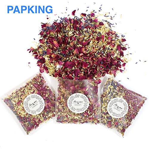 PAPKING Biodegradable Confetti Cannon – 12 Packs 100% Natural Gold Rose Dried Flower Leaves Confettie Wedding Poppers & Gender Reveal Party. Perfect for New Year's Eve & Rainbow Glitter Decoration ()