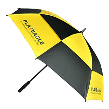 PLAYEAGLE Windproof Golf Umbrella 50-Inch Large Double Layers Auto Open Straight Umbrella Rain&Wind Repellent