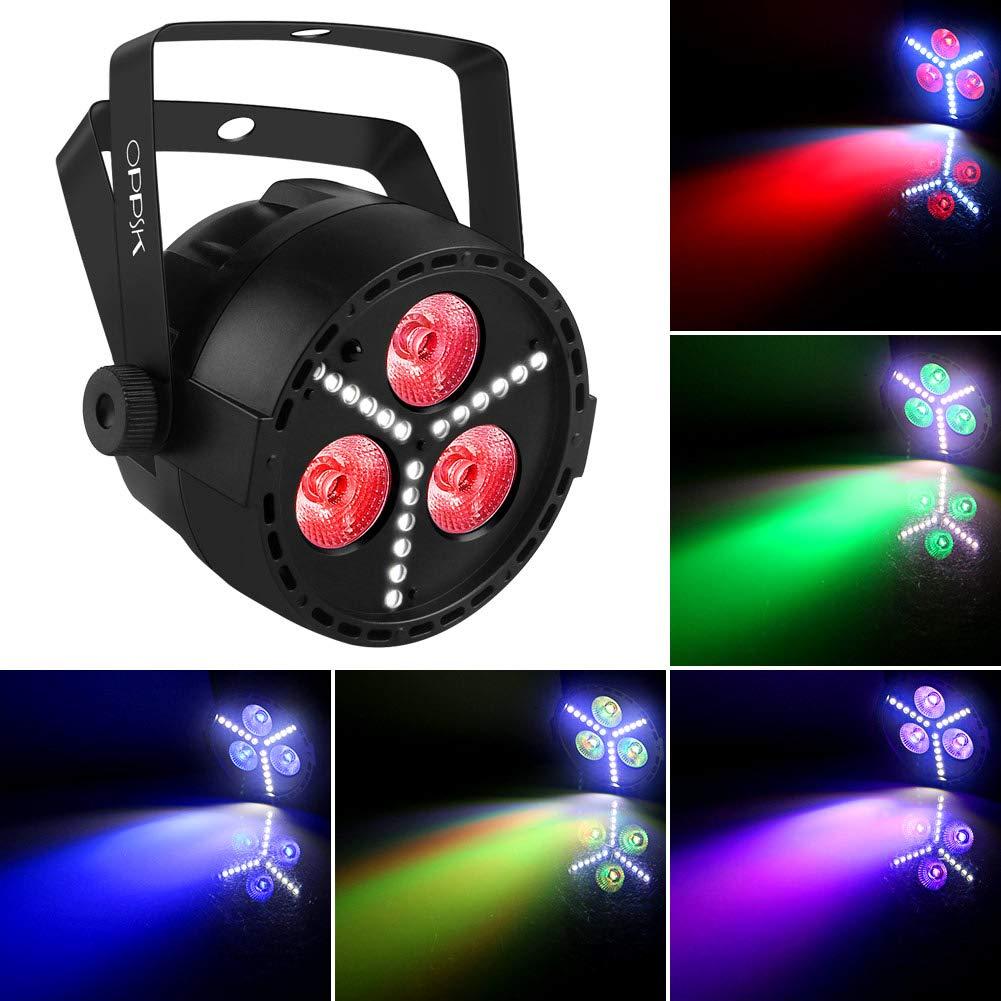 Stage Lights, OPPSK Multi-Effects RGB+UV+SMD Strobe LED Par Can by Remote DMX Control Uplights for Wedding DJ Party Wash Lights OK-021-3R4-New