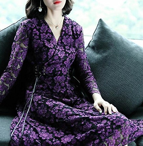 Sleeve Patchwork Lace Dress line Swing Jaycargogo Long Recio A Purple Womens Z76wWWznx