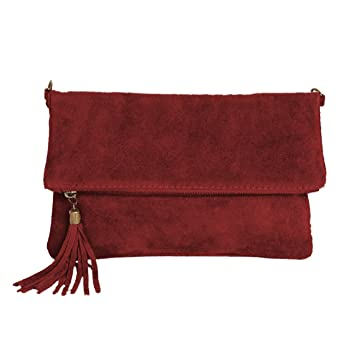 eca385e336033 ImiLoa Leder Clutch kleine Ledertasche Wildleder Umhängetasche Abendtasche  klein Partytasche Handtasche Lederhandtasche (Bordeaux Rot)