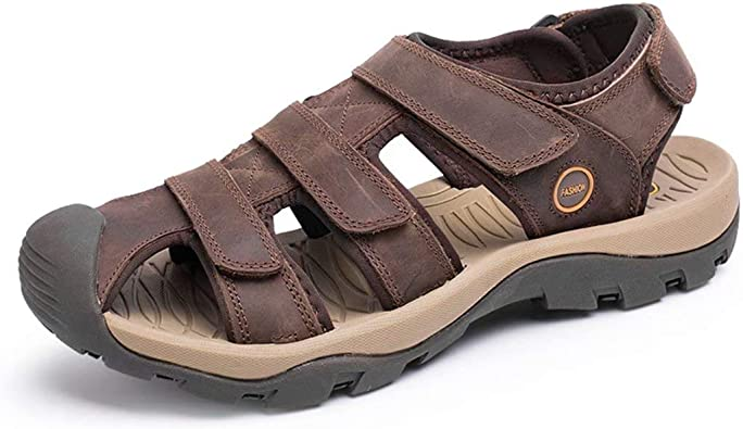 NUHEEL Mens Sports Sandals Hiking Sandals Mens Walking Outdoor Sports Ankle Strap Sandals Beach Leather Closed Toe Summer Shoes for Trekking Gardening Fisherman Athletic Casual Shoes