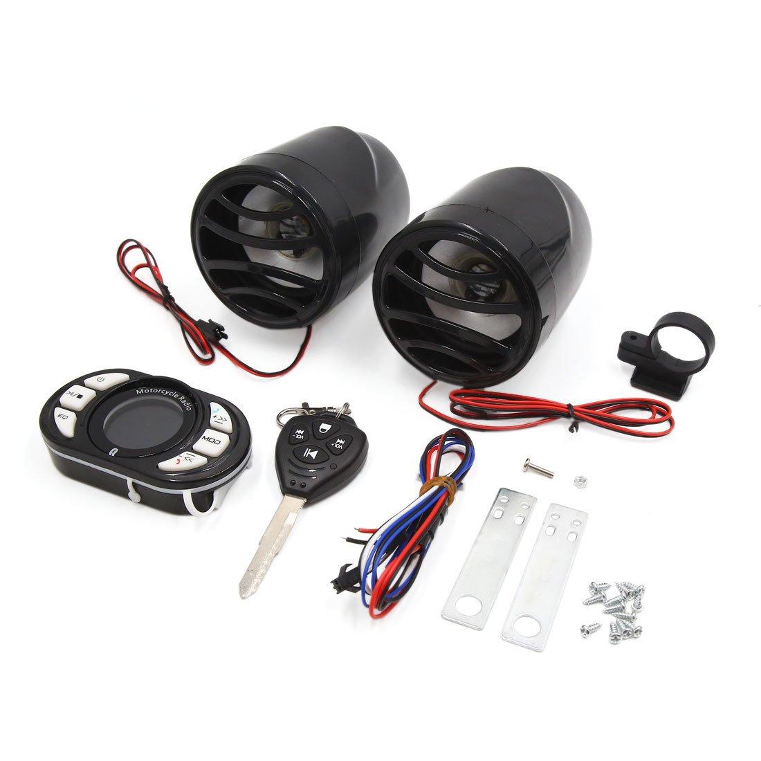 sourcing map 12V Altavoces Sistema Audio de Moto Reproductor Mp3 Radio Kit de Alarma Control Remoto Negro