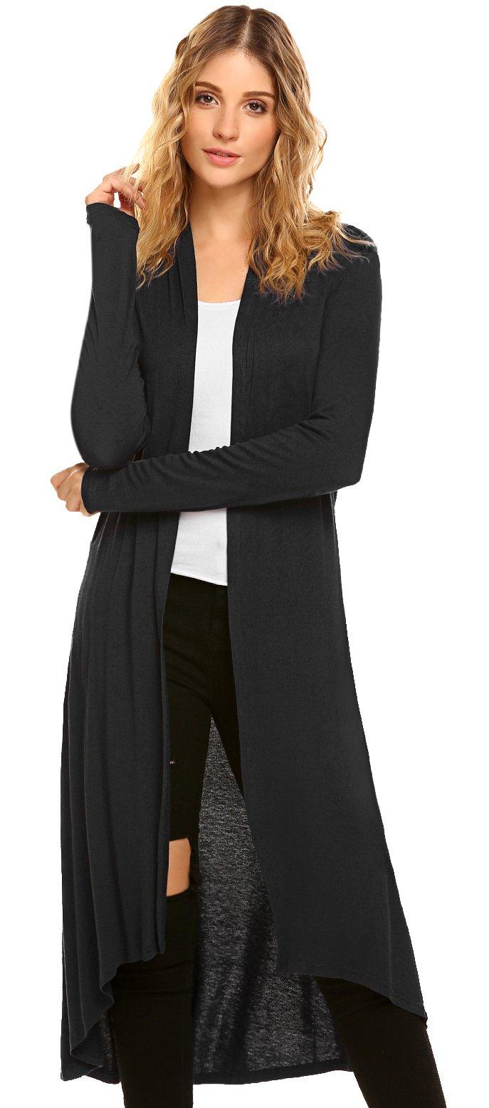 POGTMM Women's Long Open Front Drape Lightweight Maix Long Sleeve Cardigan Sweater (US XXL(20-22), Black)